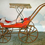 19th c. Baby or Doll Carriage with China Head Doll