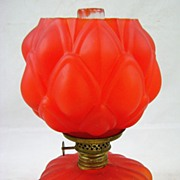 Victorian Red Satin Glass Artichoke Miniature Oil Lamp