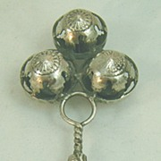 Sterling Silver Triple Bell Baby Rattle / Whistle
