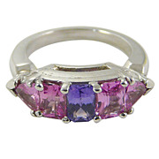 SOLD Pink & Purple Sapphire Platinum Ring c. 1940
