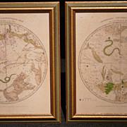Pair of Circumpolar Maps for Northern/Southern Hemisphere 1835