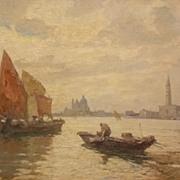 SALE Eugenio Bonivento Oil Painting Italian Harbor Scene