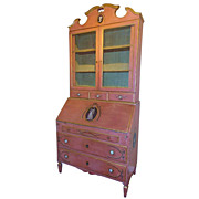 SALE 19th c. Italian Painted Secretaire, Desk & Bookcase