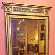 SOLD 19th c. Classical Mirror Gilded with Rosettes & Beaded Trim