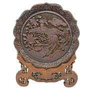 18th c. Chinese Foliate Russet Lacquer Plate