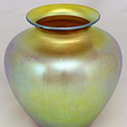 "Steuben Gold Aurene 8"" Art Glass Vase, signed"