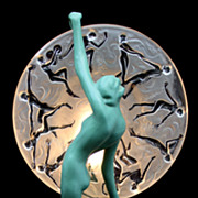 Frankart Art Deco Green Nude Lamp with Consolidated Glass Shade