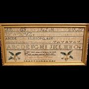 1834 Sarah Walker Southboro MA Framed Sampler