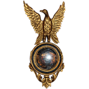 SOLD 19th c Continental Convex Mirror with Gilded Eagle