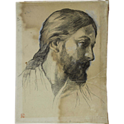 19th c John La Farge Head of Christ Study
