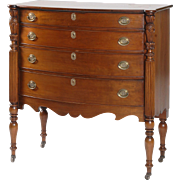 19th c Mahogany Bow Front Sheraton Chest of Drawers, North Shore MA