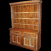 English William IV Pine 2 Part Pewter Cupboard circa 1835