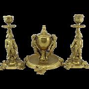 19th c French Brass Desk Set