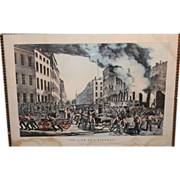 Louis Maurer Hand Colored Lithograph Life of a Fireman N. Currier Publisher 1854