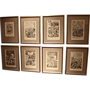 SALE Set of 8 17th c European Fire Related Wood Engravings by G.Freeman
