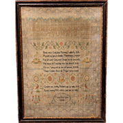 Hand Wrought Framed Polychrome Sampler by Mary Ann Lines, 1804