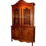 18th c French Fruitwood Stepback Cupboard