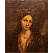19th c Continental Oil Painting Portrait of a Woman
