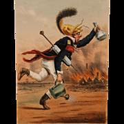 Late 19th c French Color Firefighting Lithograph Pompier de la Grand Nationale