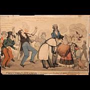 19th c English Fire Theme Hand Colored Print Corinthian Steams