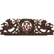 SOLD 19th Century Continental Carved Wooden Polychrome Crest