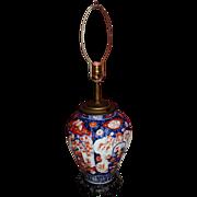 Late 19th c Japanese Imari Ribbed Vase / Lamp