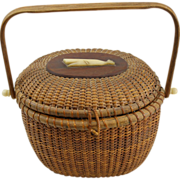 19th c Oval Nantucket Lightship Handled Basket Purse with Whale Decoration