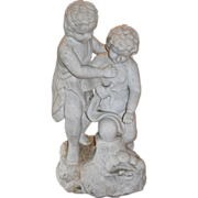 Carved Marble Statue of Two Children with Doves