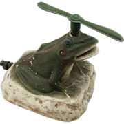 Rare Early to Mid 20th c Ceramic Figural Frog Lawn Sprinkler