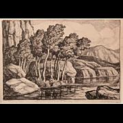 SALE Birger Sandzen Pencil Signed Landscape Print Titled Whispering Aspens