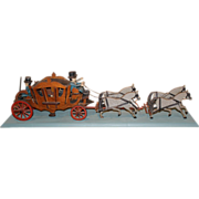 SOLD Early 20th c English Folk Art Stagecoach with Riders, Passengers, & Horses