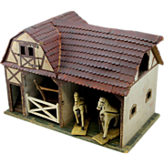 SALE Early 20th Folk Art Wooden Toy Barn with Horses and Hay Wagon