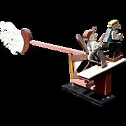 SALE 20th c Mutt and Jeff Folk Art Wooden Whirligig