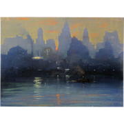 Leon Louis Dolice Pastel Painting of New York Cityscape 1930's