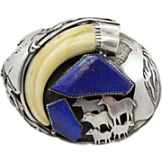 SOLD Dan Nieto Sterling Silver and Lapis Native American Signed Belt Buckle