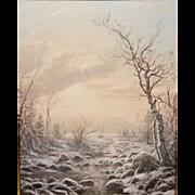 Erik Koeppel White Mountain Oil Painting Winter Morning in Jackson NH