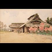SALE Fujio Yoshida Watercolor Painting of a Japanese Farmhouse