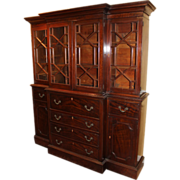 19th c Mahogany Breakfront Bookcase Secretaire