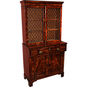 English Regency Mahogany & Ebony Secretary Desk & Bookcase