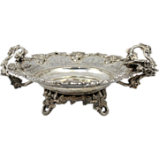 European Rococo Silver Handled Basket with Grapevine Design