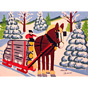 Maud Lewis Folk Art Oil Painting Horse and Logging Sled  in Winter