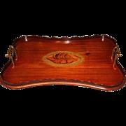 19th c English Mahogany Inlaid Tray with Shell Design