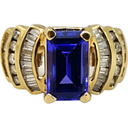 SOLD 14 Karat Gold Tanzanite & Diamond Woman's Ring