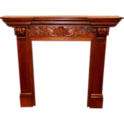 SOLD Mahogany Carved Mantel and Fireplace Surround with Acanthus & Leaf Decoration