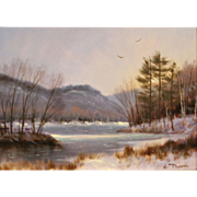 William R. Davis White Mountain Oil Painting Saco River North Conway NH