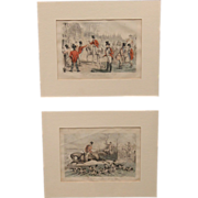 Pair of 19th c Framed Humorous English Hunting Scene Prints by John Leech