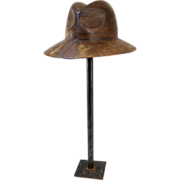 Walnut Fedora Sculpture on Stand from Ashton Hawkins Collection