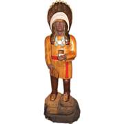 SOLD 20th c Wooden Painted Life Size Cigar Store Indian / Native American