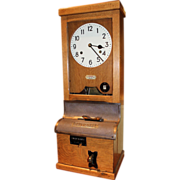 SOLD Early 20th c English Oak National Industrial Mill Time Clock