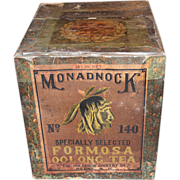 SOLD Large Monadnock Brand Formosa Oolong Tea Tin, Holbrook Grocery Co, Keene NH